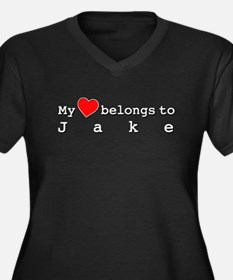 My Heart Belongs To Jake Women's Plus Size V-Neck