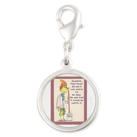 MAIDladyMESSAGEfrom GOD.png Silver Round Charm