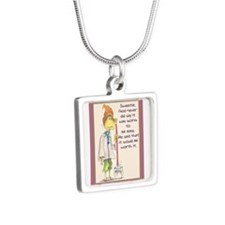 MAIDladyMESSAGEfrom GOD.png Silver Square Necklace