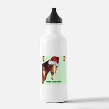 Christmas Horse in Santa Hat Water Bottle
