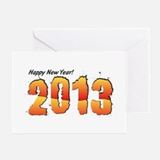 2013 Happy New Year Orange to Red Greeting Card