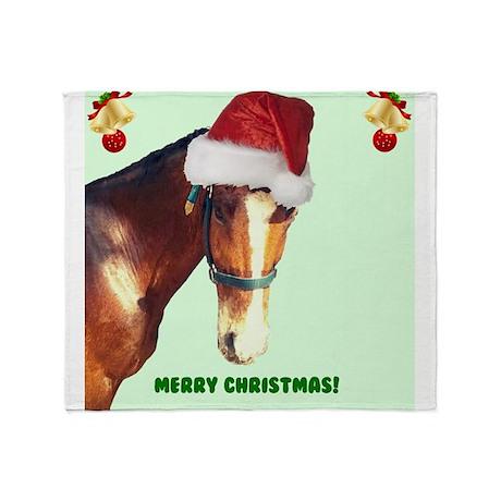 Christmas Horse in Santa Hat Throw Blanket