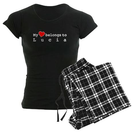 My Heart Belongs To Lucia Women's Dark Pajamas
