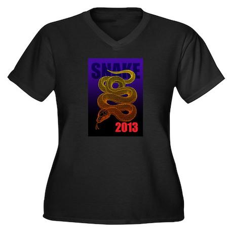 2013snake2 Women's Plus Size V-Neck Dark T-Shirt