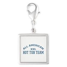 AA Hot Tub Team Silver Square Charm