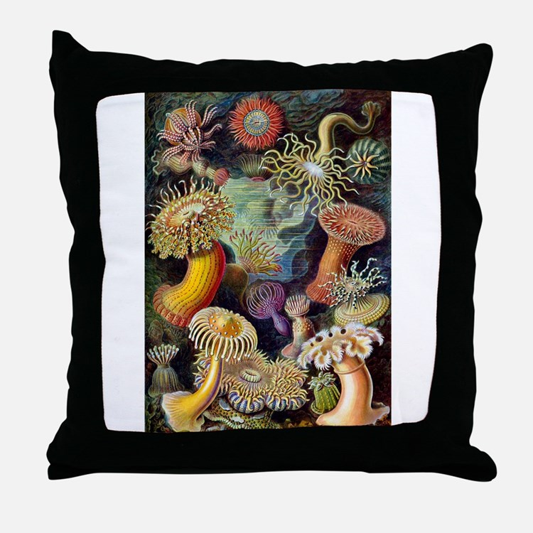 Antique 1904 Sea Anemone Nature Print Throw Pillow