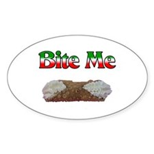 Bite Me Design Oval Decal