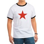 Red Five Point Star Ringer T