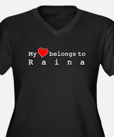 My Heart Belongs To Raina Women's Plus Size V-Neck