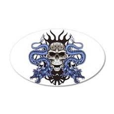 Blue Skull.png 20x12 Oval Wall Decal