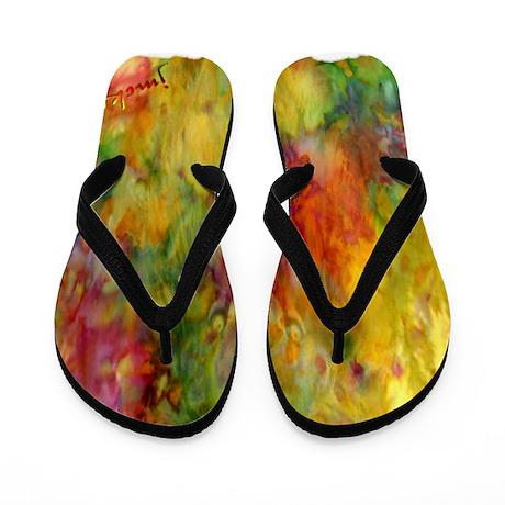 tie dye colorful lion art illustration Flip Flops