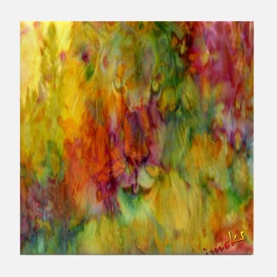 tie dye colorful lion art illustration Tile Coaste