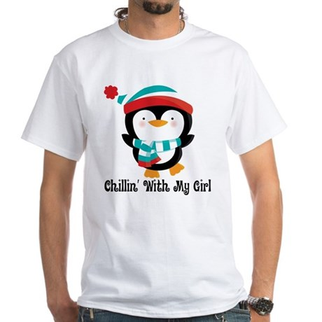 Chillin With My Girl Penguin White T-Shirt