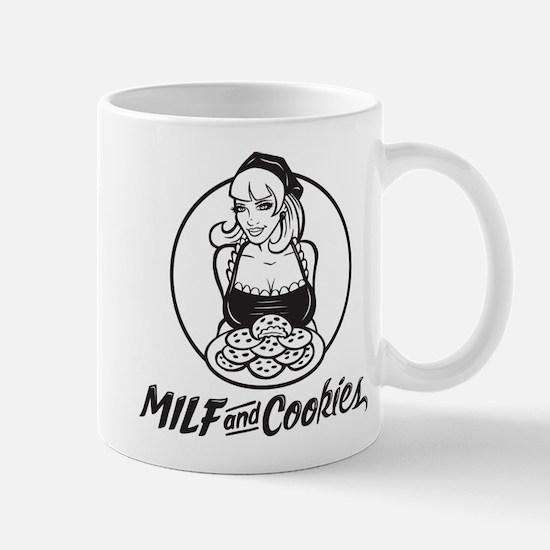 MILF and Cookies Black and White Mug