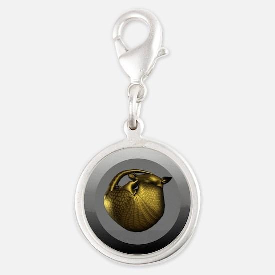 Sleeping Golden Armadillo Silver Round Charm