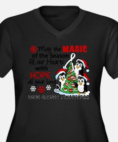 Holiday Penguins Lung Cancer Women's Plus Size V-N