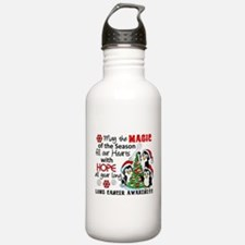 Holiday Penguins Lung Cancer Water Bottle