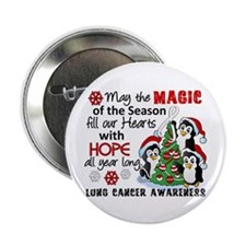 "Holiday Penguins Lung Cancer 2.25"" Button"