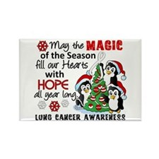 Holiday Penguins Lung Cancer Rectangle Magnet