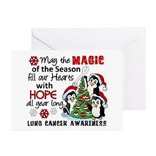 Holiday Penguins Lung Cancer Greeting Cards (Pk of
