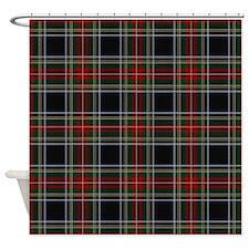 Black Stewart Tartan Shower Curtain