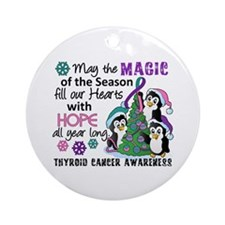 Holiday Penguins Thyroid Cancer Ornament (Round)