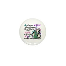 Holiday Penguins Thyroid Cancer Mini Button (10 pa