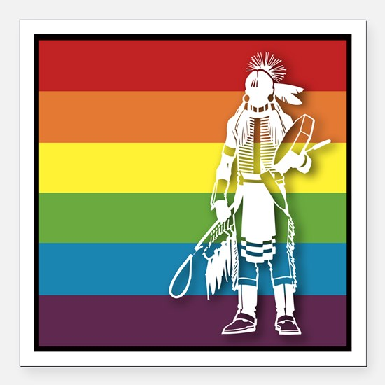 "The Gay Indian Square Car Magnet 3"" x 3"""