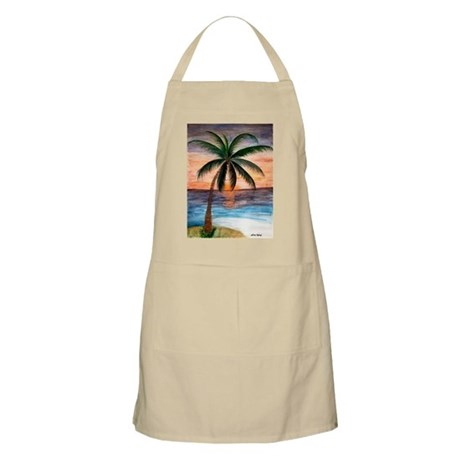 Palm Tree Sunset Art BBQ Apron