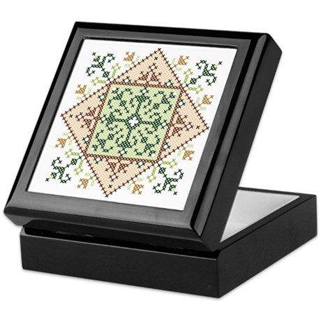 Classic Cross Stitch Medallion Keepsake Box