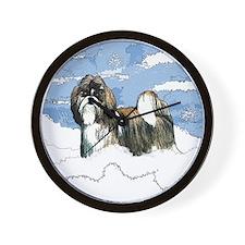 Shih Tzu Christmas Holiday Angi Wall Clock
