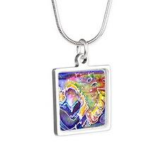 Music! Fun, colorful, sax! Silver Square Necklace