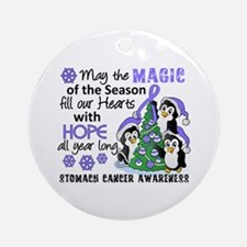 Holiday Penguins Stomach Cancer Ornament (Round)