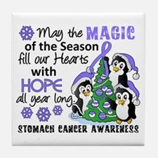 Holiday Penguins Stomach Cancer Tile Coaster