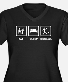 Kickball Women's Plus Size V-Neck Dark T-Shirt