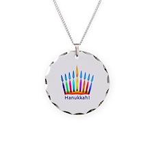 NEON Hanukkah Menorah Rect Jewelry Necklace
