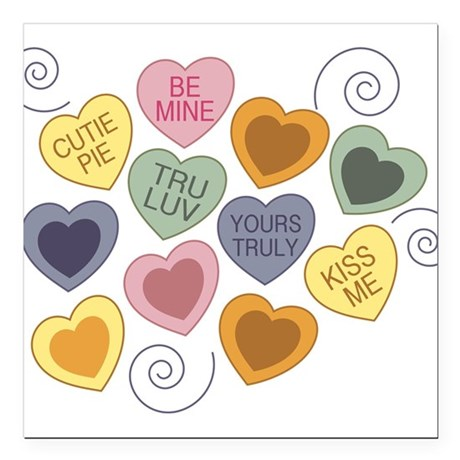 """Candy Hearts Square Car Magnet 3"""" x 3"""""""