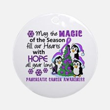 Holiday Penguins Pancreatic Cancer Ornament (Round