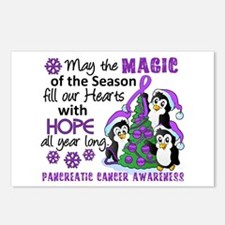Holiday Penguins Pancreatic Cancer Postcards (Pack