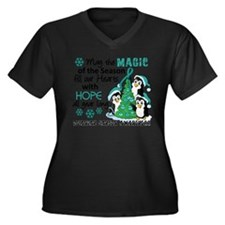 Holiday Penguins Ovarian Cancer Women's Plus Size