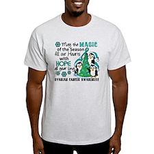 Holiday Penguins Ovarian Cancer T-Shirt