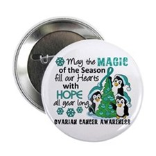 """Holiday Penguins Ovarian Cancer 2.25"""" Button"""