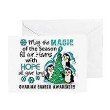 Holiday Penguins Ovarian Cancer Greeting Cards (Pk
