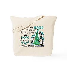 Holiday Penguins Ovarian Cancer Tote Bag