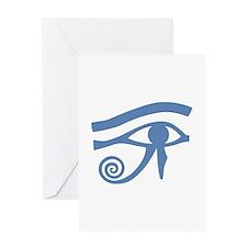 Blue Eye of Horus Hieroglyphic Greeting Card