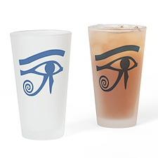 Blue Eye of Horus Hieroglyphic Drinking Glass