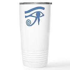 Blue Eye of Horus Hieroglyphic Travel Mug