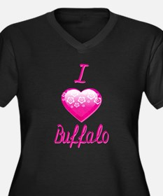 I Love/Heart Buffalo Women's Plus Size V-Neck Dark