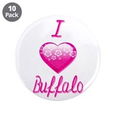 "I Love/Heart Buffalo 3.5"" Button (10 pack)"
