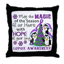 Holiday Penguins Lupus Throw Pillow